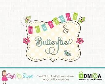 bunting logo design frame logo design butterfly logo design graphic design premade logo design photography logo bakery logo design watermark