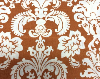 Rust and cream damask - cotton quilting fabric  - 1 yard 10 inches