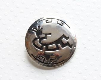 Native American Brooch Vintage Sterling Silver Musician Pin  - Navajo Estate Pin