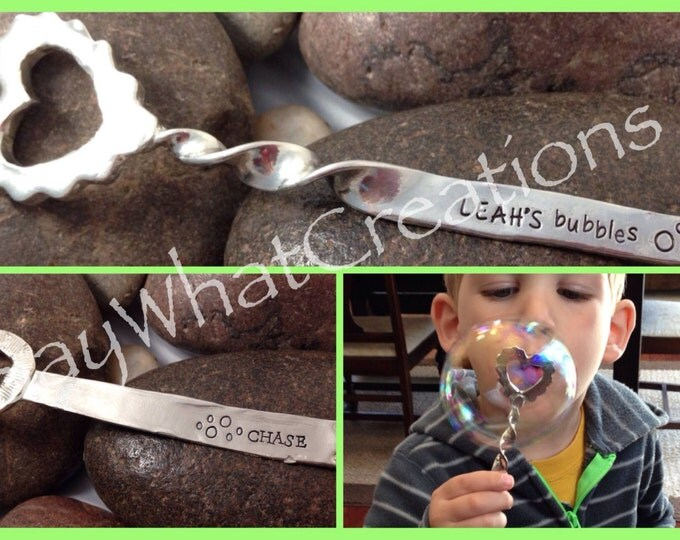 Heart Bubble Wand stamped with personalized name
