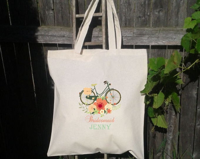 Wedding Tote, Bridesmaid Tote Bag - Flower Girl Tote - Wedding Welcome Bag - Floral Bicycle