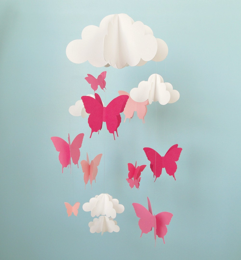 butterfly mobile baby mobile butterflies and cloud mobile. Black Bedroom Furniture Sets. Home Design Ideas