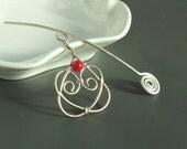 Coral shawl pin, handmade romantic accessories, silver plated shawl pin, heart shawl pin