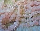 DIY 36 Inches Rose Quartz Gemstone Chips Genuine Gemstones Gems Craft Jewelry making