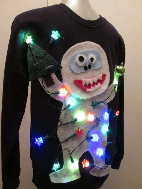 Abominable snowman ugly christmas sweater lighted by for Abominable snowman christmas light decoration