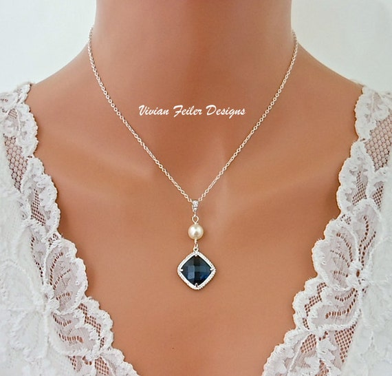 Blue Necklace Pearl Sapphire Blue Wedding Jewelry Bridal