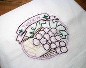 Dish Towel Wine Country Design White Cotton Flour Sack Tea Towel Tuscany Hand Embroidered Dish Towel