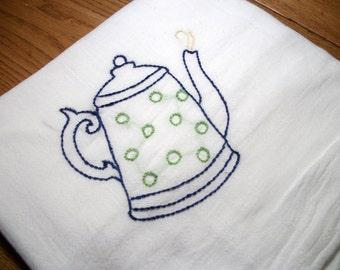 Cotton Dish Towel Flour Sack Towel Java Break Design Coffee Pot Hand Embroidered Dish Towel