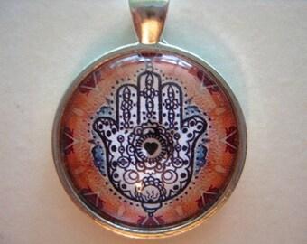 Yoga Necklace:  Hamsa on Mandala Necklace (013)
