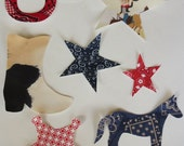 Iron On  Applique Cowboy Cowgirl Western  Set Baby Shower Activity
