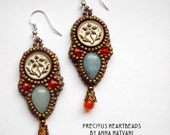 Bead Embroidery Earrings Aquamarine patina Carnelian Sterling Silver Bead Embroidered