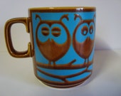 Hornsea Mugs 1972 Turquoise and Brown