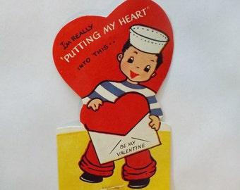 Vintage Valentine card die cut little sailor boy putting a heart in an  envelope by Americard ephemera