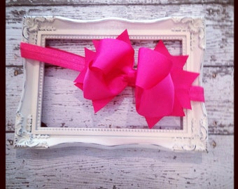 Boutique Baby Girls Shocking Pink Elastic Headband with Shocking Pink Large Hair Bow Perfect for Birthdays Photo Props Easter