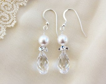 CRYSTAL PEAR EARRINGS with Rhinestone Accents on French Wire, Bridal Earrings, Wedding Earrings
