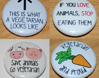 Vegetarian Button Badge 25mm / 1 inch Ethical Vegan