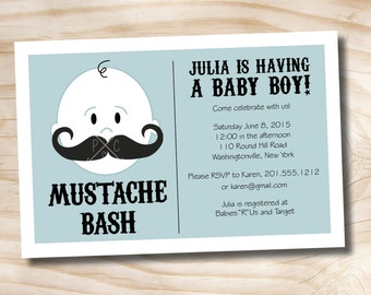 50 PRINTED WITH ENVELOPES Mustache Bash Boy Baby Shower Invitation