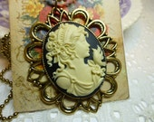 Lovely Lady with Bird Cream on Black 40 x 30 Cameo Pendant Necklace in Antique Gold