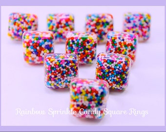 Candy Sprinkle Rings ,Bar Resin Adjustable ring Handmade By: Tranquilityy
