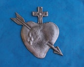 Tin/Silver Large Sacred Heart Immaculate Heart with Arrow Milagro Ex Voto