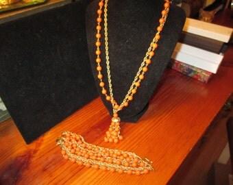 Magnificent Signed KRAMER Vintage 8-Strand BRACELET & 4-Strand NECKLACE W/Ornate Tassel in Orange/Coral Celluloid Beads and Gold Plate
