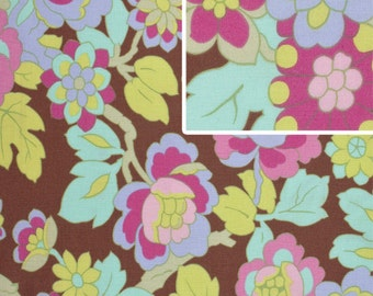 Amy Butler for Rowan - GYPSY CARAVAN - Cutting Garden in Mocha - Cotton Fabric - 1 Yard
