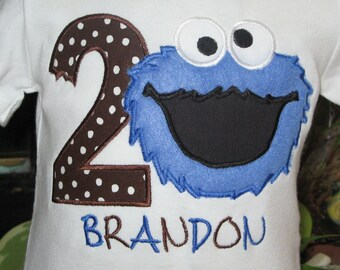 Cookie Monster Birthday Shirt or Bodysuit with Number and Free Personalization