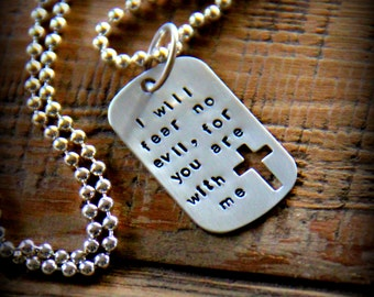 Men's Dog Tag Necklace, Mens Religious Jewelry Necklace, Cross God, I will fear no evil Dog Tag, Army, Navy, Military Necklace, Deployment
