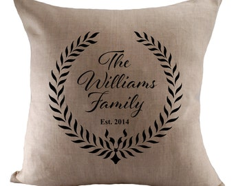 Custom Family Name Cushion Cover - Choose Your Fabric - 18x18