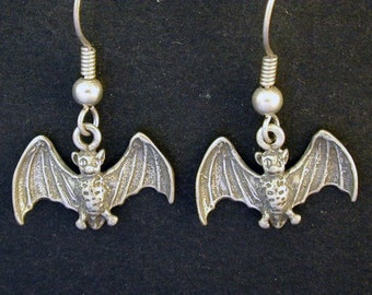 Sterling Silver Bat Earrings on Sterling Silver French Wires