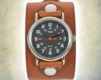 Men's Leather Cuff Watch