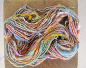 Handspun art yarn PASTEL PARTY 67 yards free U.S. shipping in pink, orange, plum, and yellow, blue, green