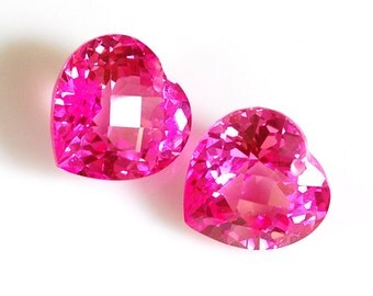 Large Heart Cut Pink Topaz Focal, Large Heart Cut Pink Topaz Briolette - 1 Piece (16 x 16mm, 20 cts each)