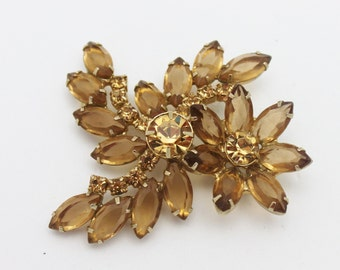 Vintage Brooch Cinnamon Color Rhinestones
