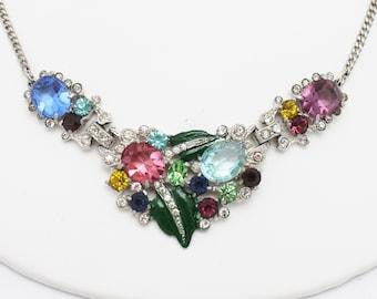 Art Deco Style Enameled and Rhinestone Necklace