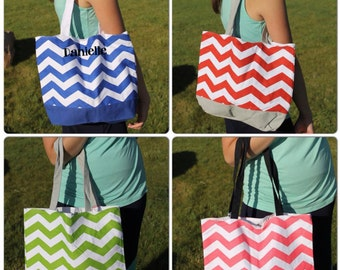 SALE Chevron Canvas Tote or Carryall Snap Closure Aqua Green Pink Red Personalize or monogram Included