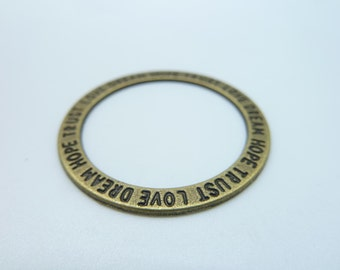 20pcs 35mm Antique Bronze Hope.Trust.Love.Dream Round Rings Circle Charm Pendant c322