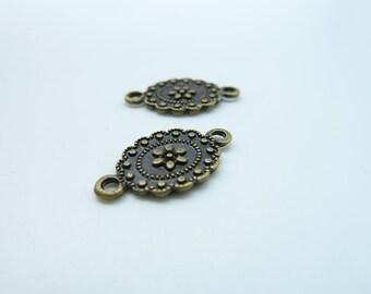 30pcs 10x18mm Antique Bronze Mini Flower Connector Link Charm Pendant c536