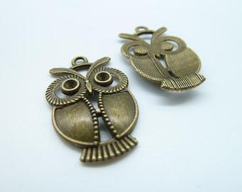 10pcs 21x34mm Antique Bronze Owl Charm Pendant c723