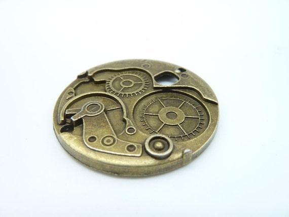5pcs 38mm Antique Bronze Gear Watch Clock Mechanical Movement Charm Pendant C1894