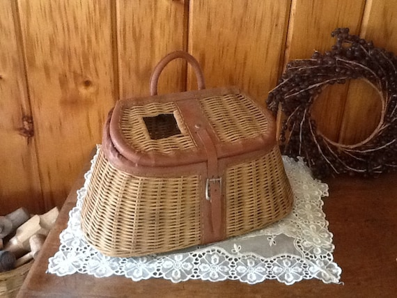 Wicker fishing creel tackle basket w ruler by stonecottagemill for Fishing creel basket