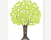 Bridal Shower / Wedding Gift - Heart Tree Green & Brown - Art Print by ColorBee Digital Print
