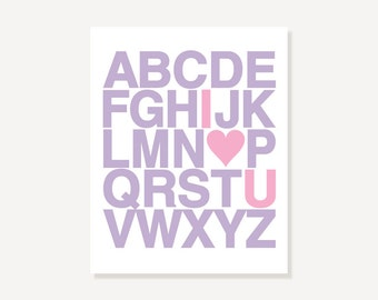 ABC Love You Alphabet Poster I Heart U - Purple Pink Nursery Art Print, Many Sizes, Many Colors