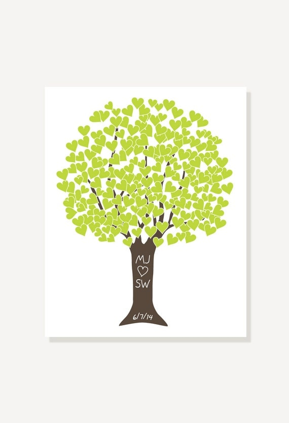 Bridal Shower / Wedding Gift - Heart Tree Green & Brown - Art Print by ...