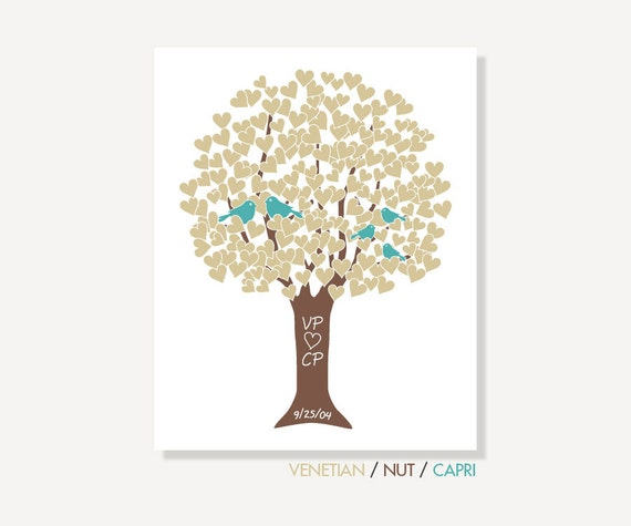 Family Love Tree with Love Birds: Anniversary Present / Wedding Gift - Digital Print