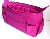 Extra large size Purse organizer  with laptop padded case - Bag organizer insert in Purple fabric