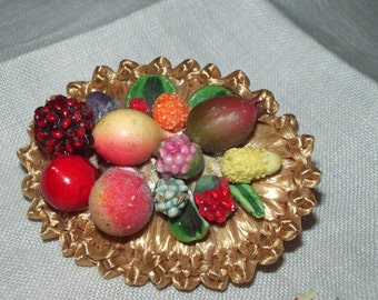 Luscious Fruit Basket Vintage Brooch Pin 1950s Tropical Juicy Carman Miranda Style