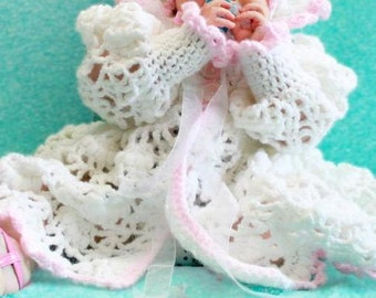 Heirloom Hand Crocheted Vintage Style Matinee Coat, Bonnet and Booties Outfit Gift Set