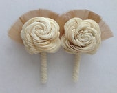 Balsa Wood Flower Boutonniere/ Brooch with Feathers and Vintage Lace-- Wedding Boutonniere