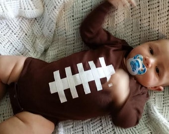 Brown Football Bodysuit Outfit - Baby Boy/Girl Long Sleeve 0-3m, 3-6m, 6-12m, 12-18m Sizes available